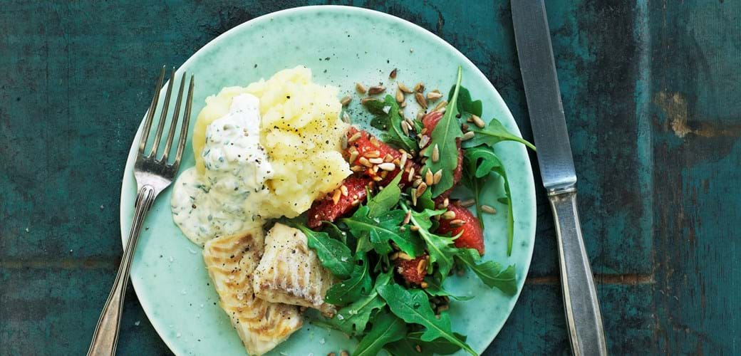 Stegt hellefisk med grape og rucolasalat
