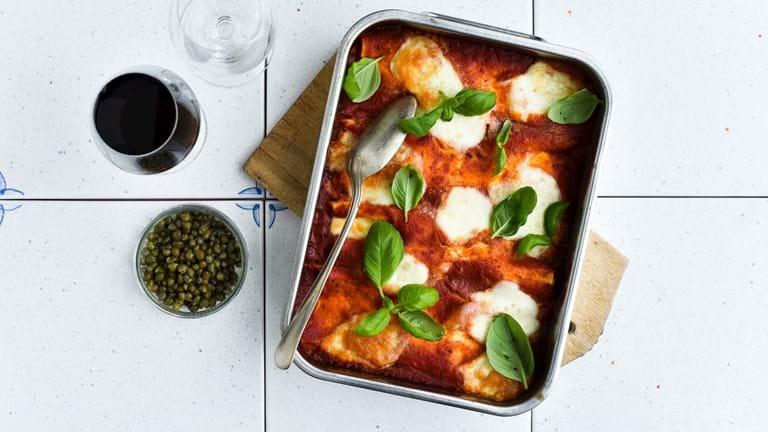 Cannelloni med svampe og spinat