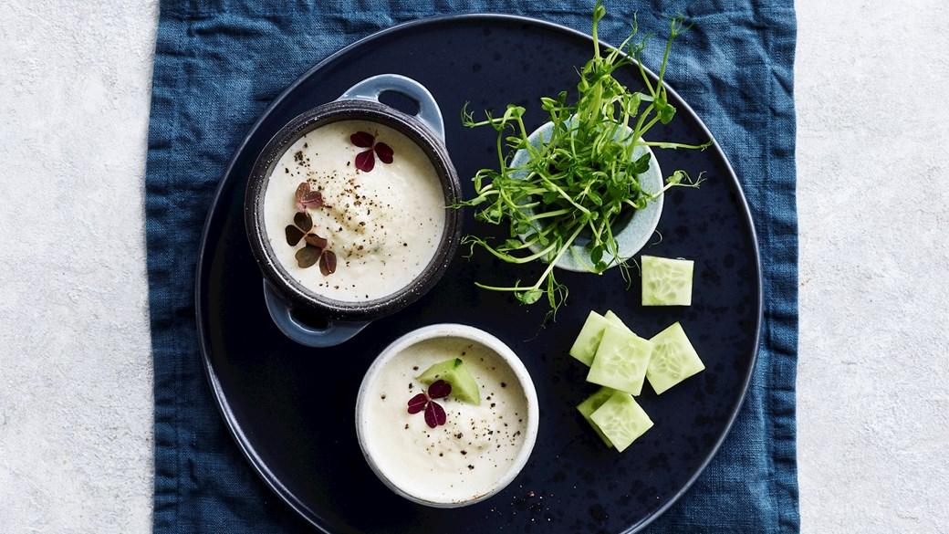 Persillerodssuppe med letsaltet agurk og ærteskud