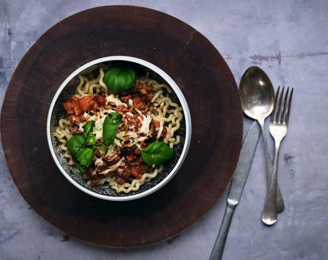 Spaghetti bolognese med lammekød