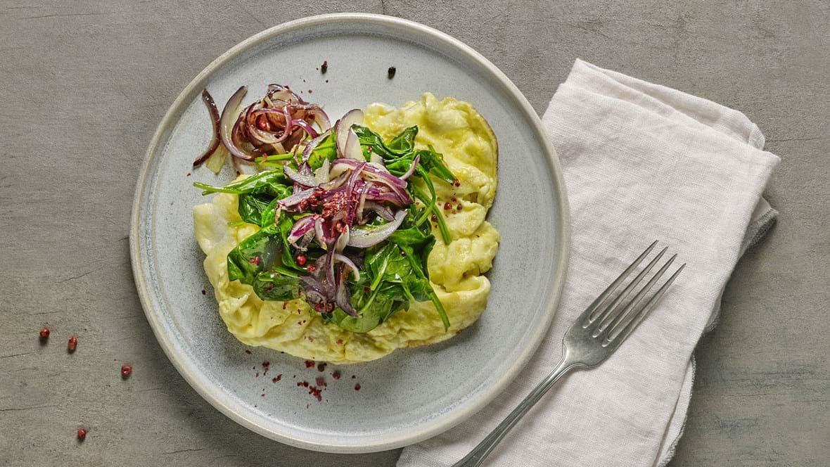 Æggekage med spinat