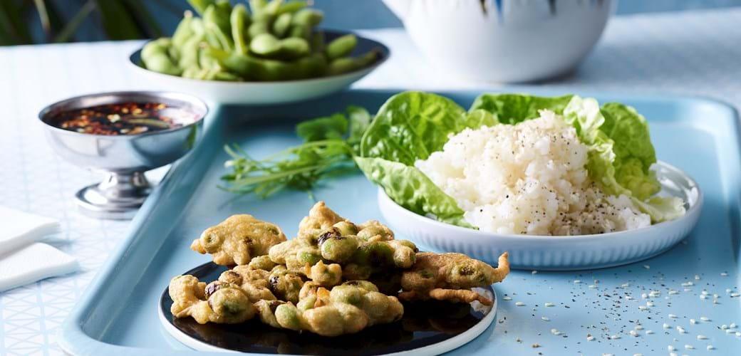 Edamame-tempura med sushiris