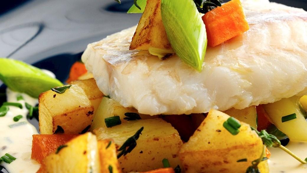 Ovnbagt torsk med sennepssauce