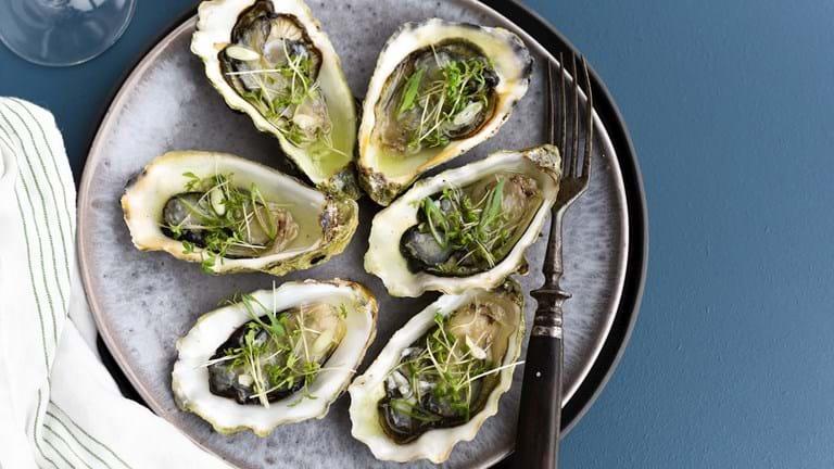 Friske østers med agurkedressing og karse