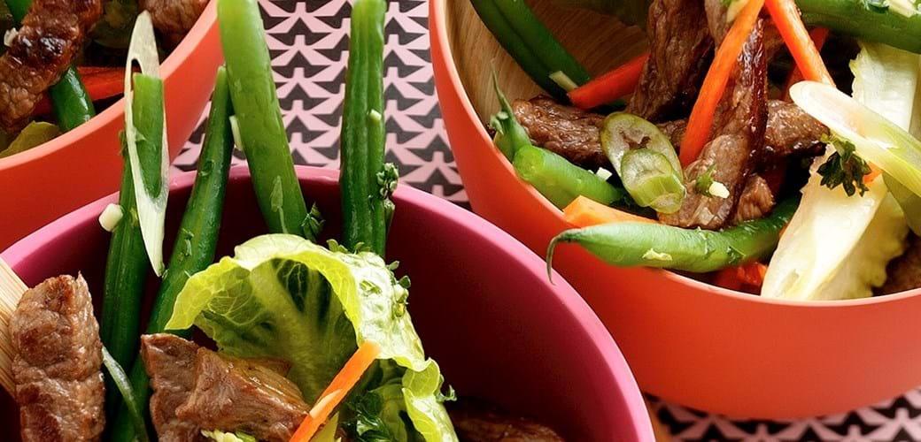 Kalvekødssalat med bønner, chili og hvidløg