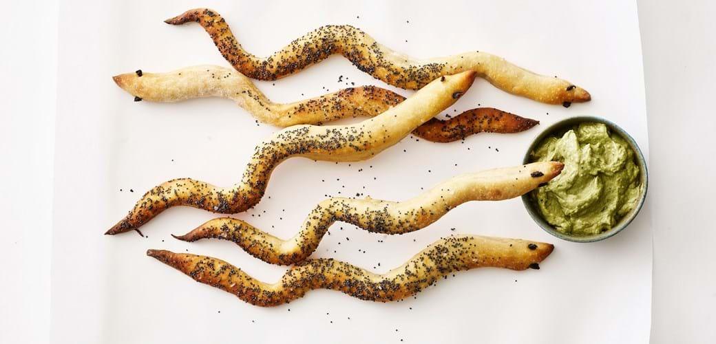 Sprøde slanger med blå birkes