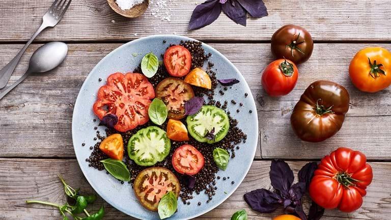 Tomater med belugalinser