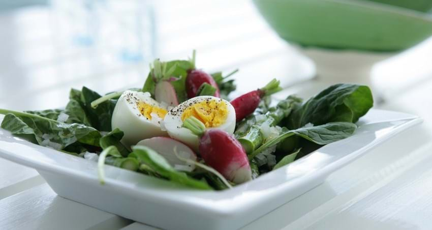 Sommersalat serveret med æg