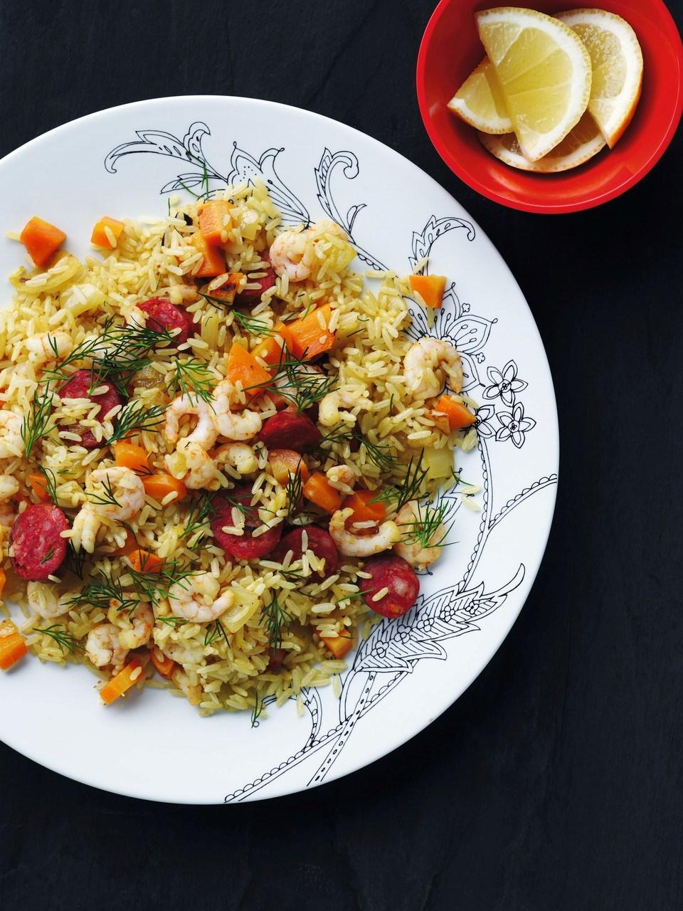 ris med rejer og karry