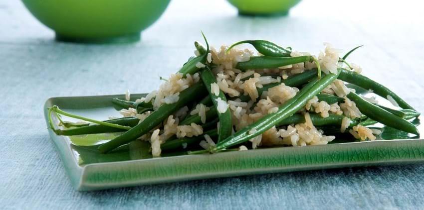 Marinerede ris med grønne bønner