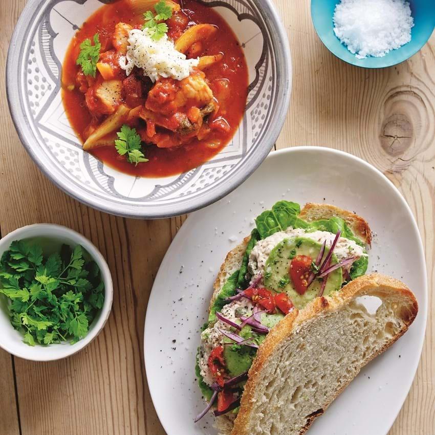 Tomatsuppe med fisk og fennikel