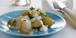 Hellefisk og kartofler med rygeostcreme