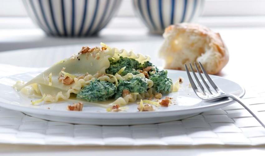 Lasagne med ricotta og grønkål