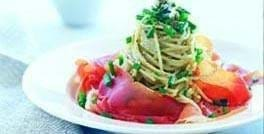 Parmaskinke med spaghetti og Mouton Bleu sauce