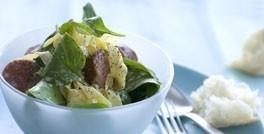 Pasta med spinat og chorizopølse