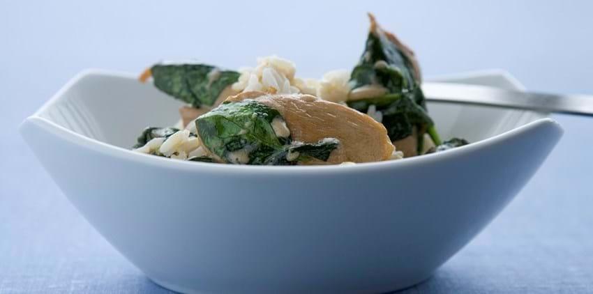 Kylling og spinatsauté med ris