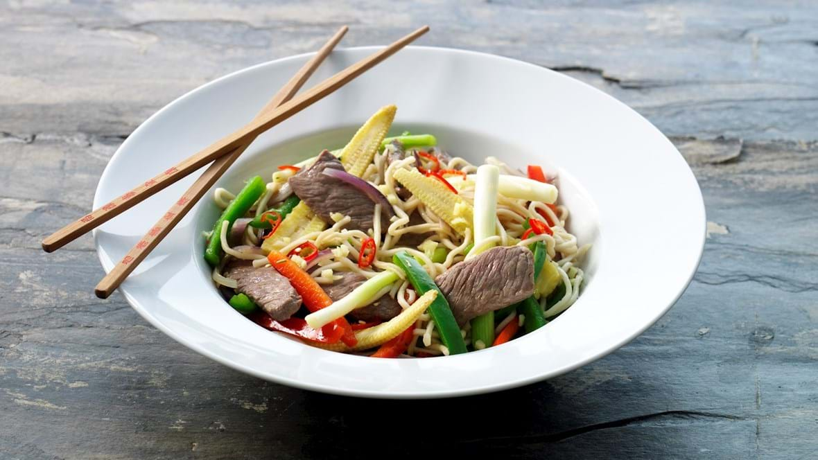 Lynstegt lammefilet strimler i wok
