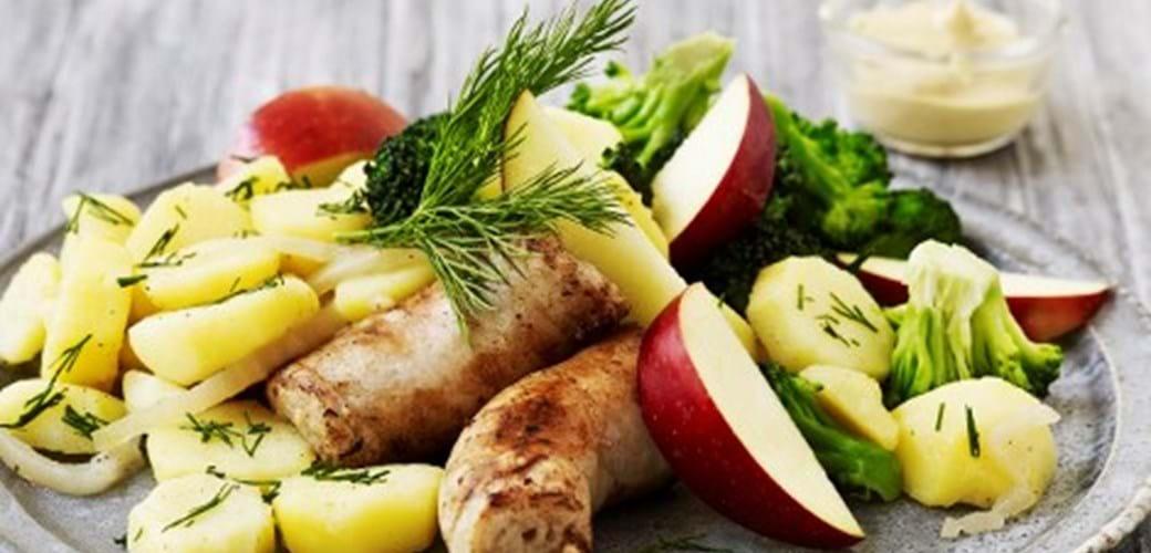 Skinkemedister med varm kartoffelsalat