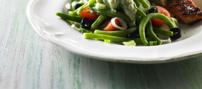 Grønne bønner og avocadocreme