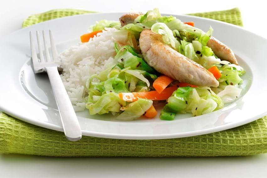 Kylling og sprøde grøntsager