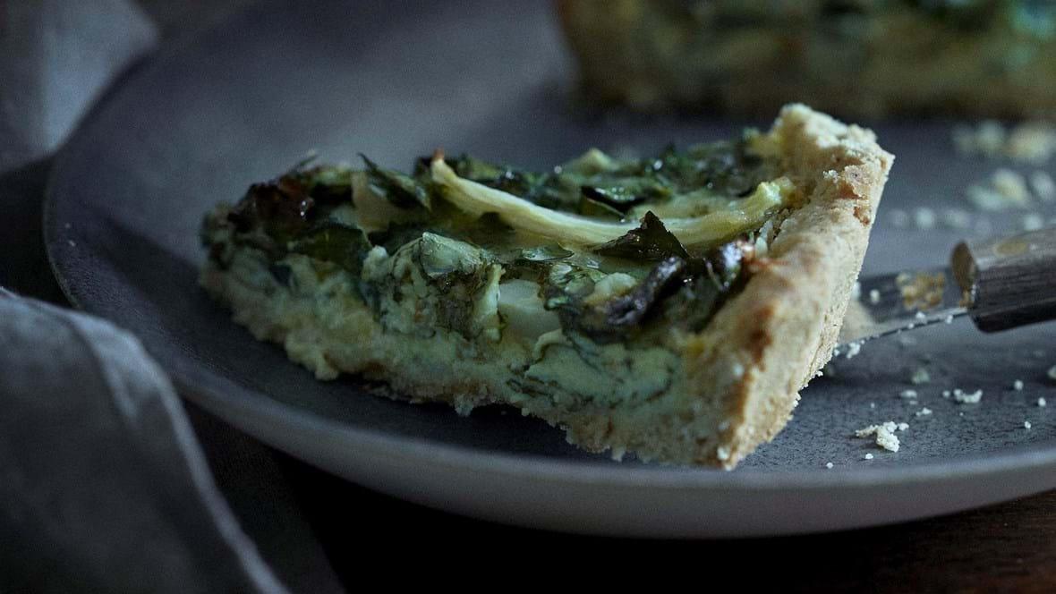 Tærte med fennikel og spinat