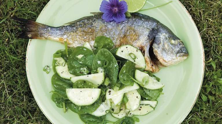 Grillet fisk med kaffekrydret salat