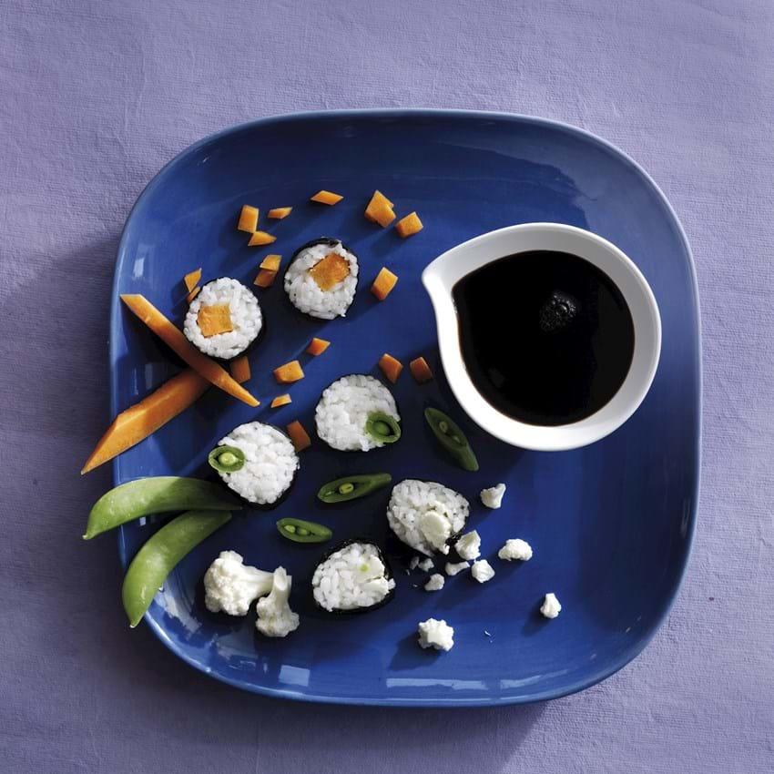 Sushi med rå grøntsager