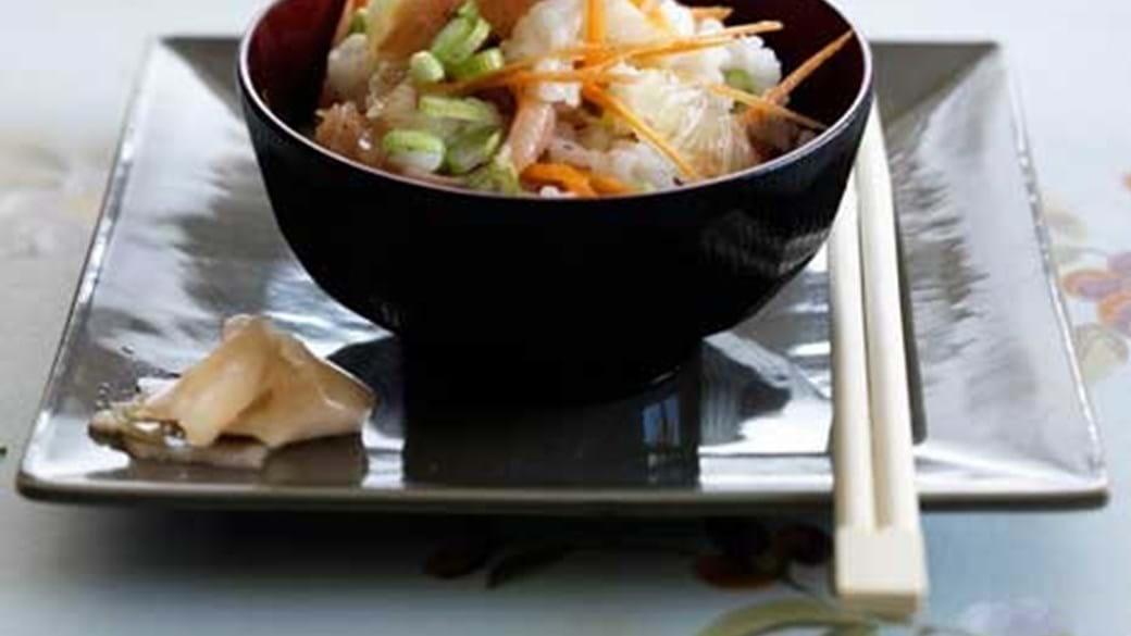 Salat med sushiris og gravad laks