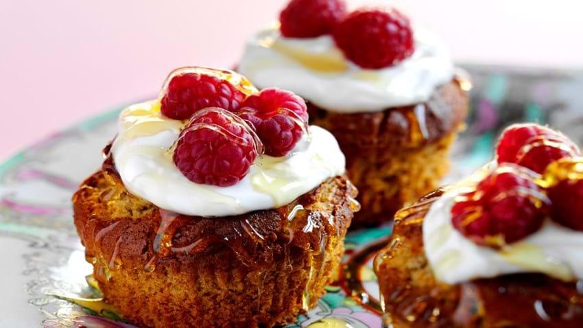 Honningmuffins med hindbær
