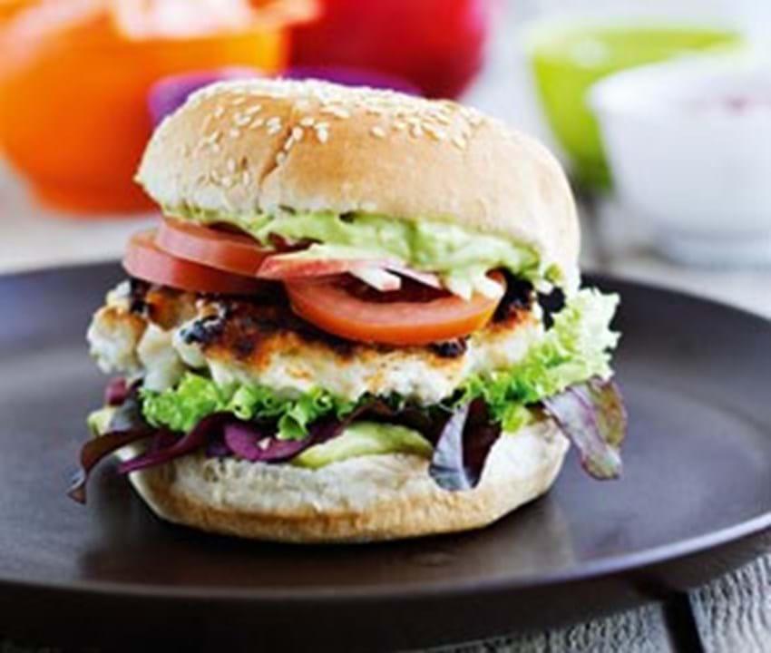 Fiskeburger på grill