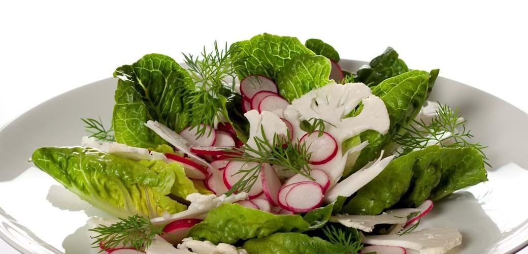 Hjertesalat med blomkålscrudité, radiser og dild