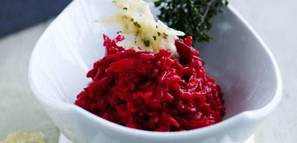 Risotto med rødbede og parmesanbrud
