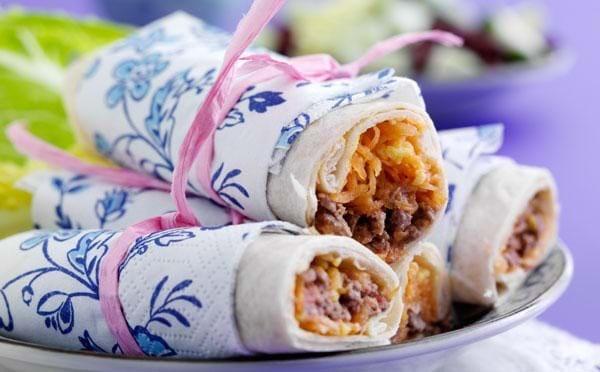 Tortillas med spicy fyld