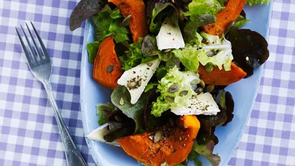 Salater med krydderbagt hokkaido