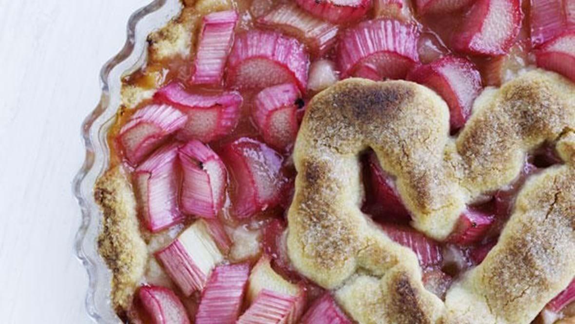 Hjertetærte med rabarber