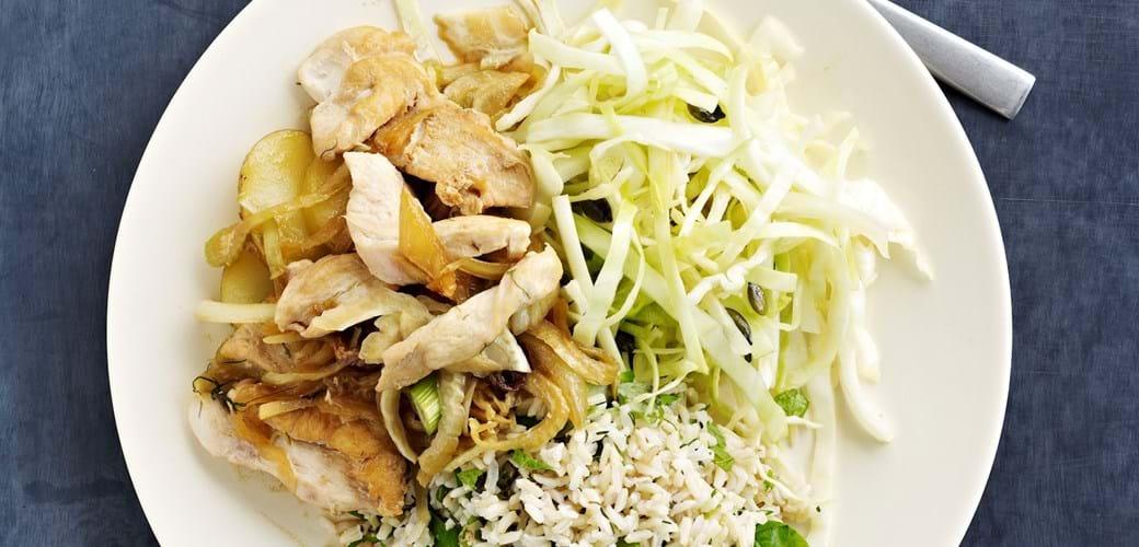 Kålsalat og kyllingewok