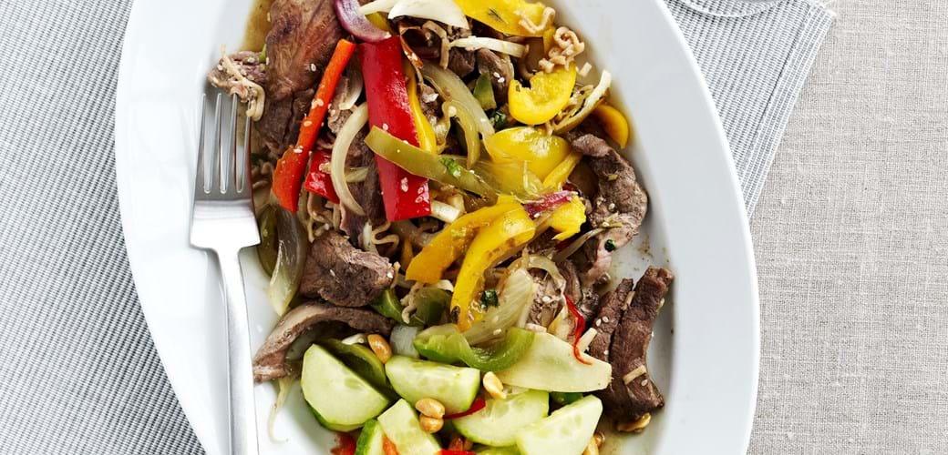 Chop suey med peberfrugter og andebryst