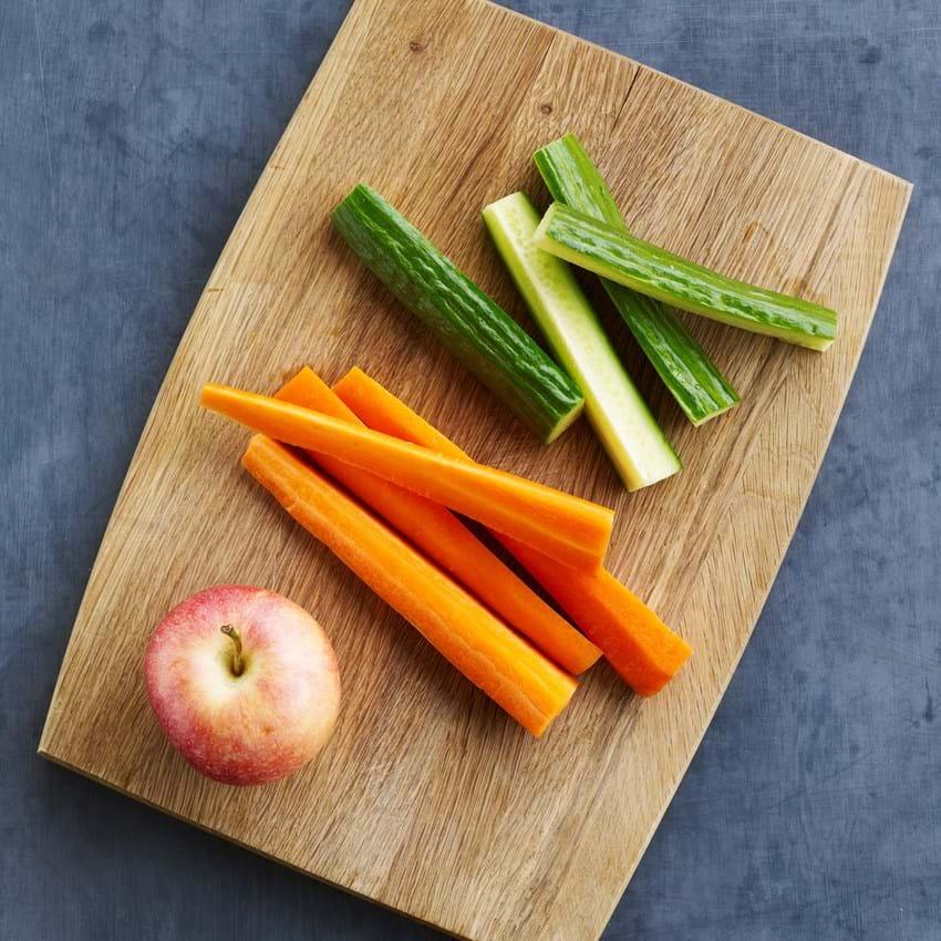 Gulerod, æble og agurk