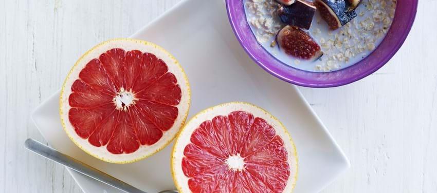 Havregryn med figner og grapefrugt - børneportion