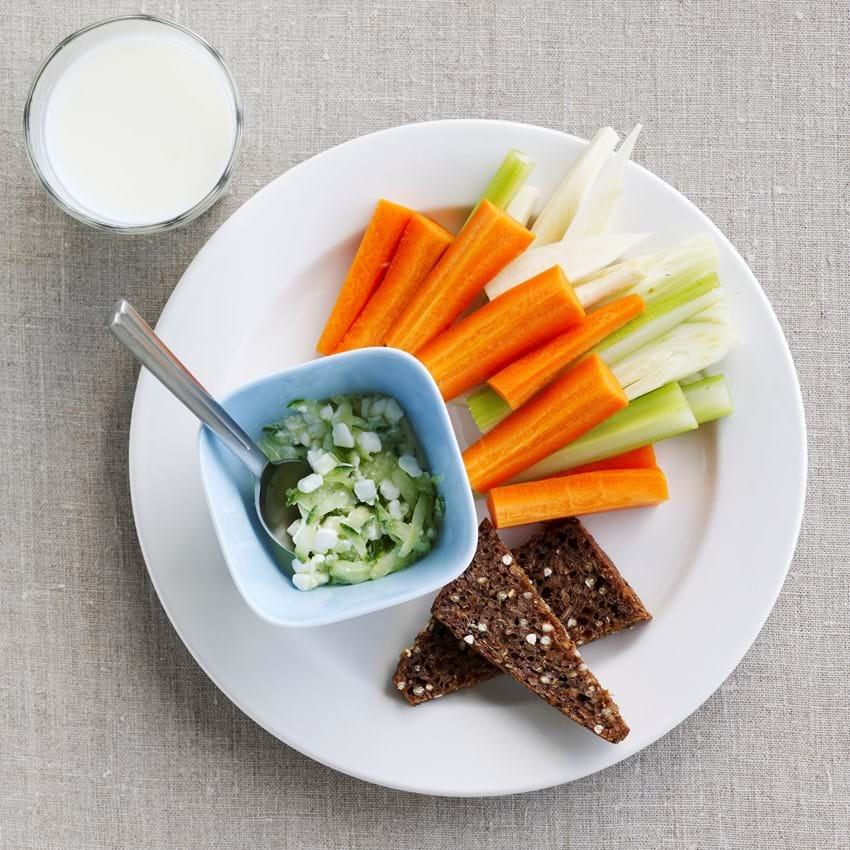 Grøntsager med hyttostdip