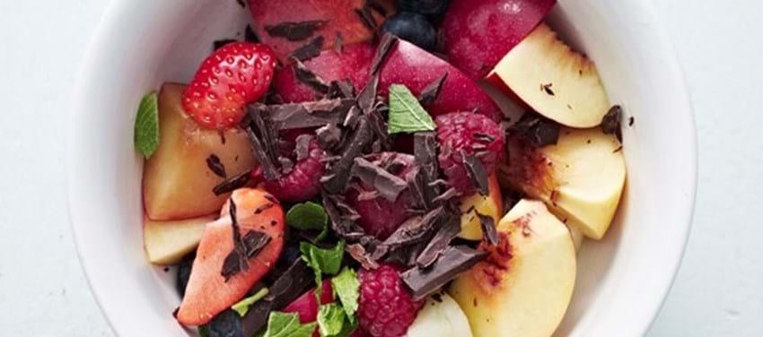 Abemad med chokolade (frugtsalat)