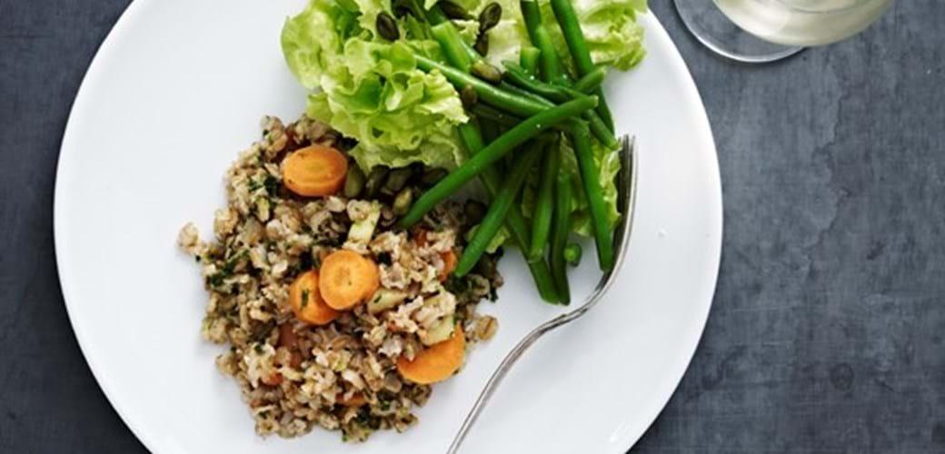 Kornotto med gulerødder og grønkål.