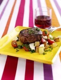 Tournedos med kartofler, feta og persille