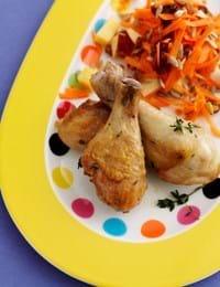Stegte Kyllingelår med råkostsalat