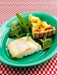 Grøntsagstærte og torsk