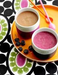 Blåbærsmoothie og caffé latte smoothie