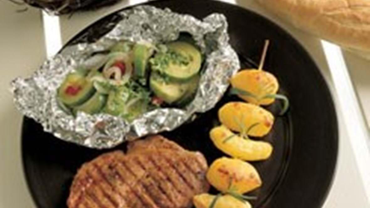 Chilikoteletter med squashpakker