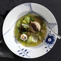 Fars med tørrede morkler i grøntbouillon med sønderjyske ris
