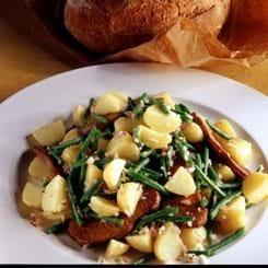 Kartoffelsalat med sauté-skiver