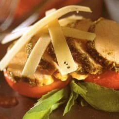 Krydret skinkemignon med bagte tomater